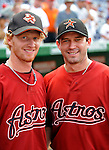 12 July 2008: Houston Astros' catcher J.R. Towles (left) poses with starting pitcher Chris Sampson prior to a game against the Washington Nationals at Nationals Park in Washington, DC. The Astros defeated the Nationals 6-4 in the second game of their 3-game series...Mandatory Photo Credit: Ed Wolfstein Photo