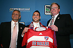 15 January 2009: Peri Marosevic was taken with the fifth overall pick by FC Dallas. With head coach Shellas Hyndman (left) and general manager Michael Hitchcock (right). The 2009 Major League Soccer SuperDraft was held at the Convention Center in St. Louis, Missouri in conjuction with the National Soccer Coaches Association of America's annual convention.