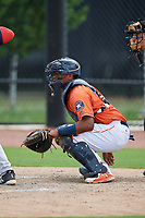 GCL Astros catcher Nerio Rodriguez (52) waits to receive a pitch during a game against the GCL Nationals on August 6, 2018 at FITTEAM Ballpark of the Palm Beaches in West Palm Beach, Florida.  GCL Astros defeated GCL Nationals 3-0.  (Mike Janes/Four Seam Images)