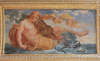 Fresco of a figure riding a sea creature and playing a violin, painted c. 1552 by Niccolo dell'Abatte after drawings by Primaticcio, in the window recesses of the Ballroom or Galerie Henri II, Chateau de Fontainebleau, France. The Palace of Fontainebleau is one of the largest French royal palaces and was begun in the early 16th century for Francois I. It was listed as a UNESCO World Heritage Site in 1981. Picture by Manuel Cohen