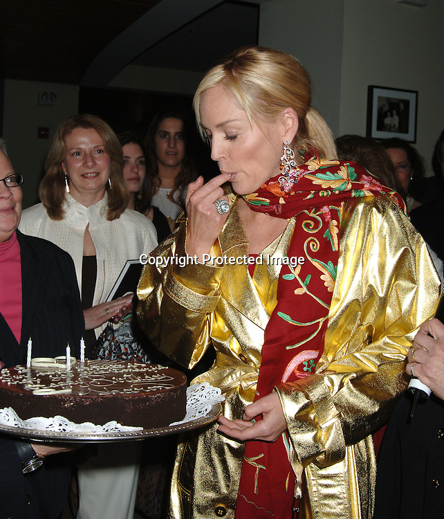 "Sharon Stone..at the Afterparty for the Premiere of ""Basic Instinct 2"" at Fred's at Barney's on March 27, 2006. The party was benefitting Concerned Parents For Aids Research. Sharon Stoned wowed them auctioning off items that raised       $68, 000...Robin Platzer, Twin Images"