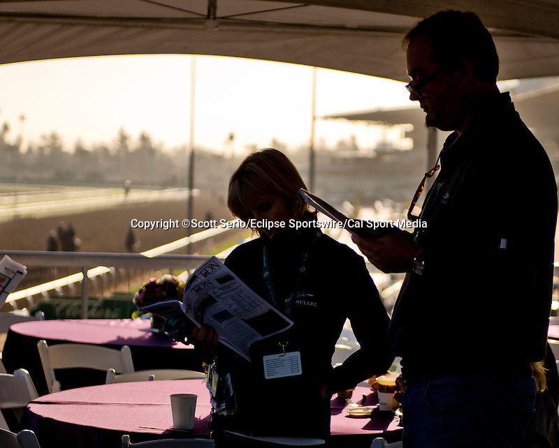 October 28, 2014: Scenes from morning workouts at Santa Anita Park in Arcadia, CA, as horses exercise in preparation for the 31st Breeders' Cup and fans and racing connections watch them at the Breeders' Cup Trackside Marquee. Scott Serio/ESW/CSM