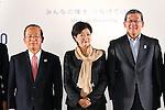 (L-R) Toshiro Muto,   Yuriko Koike,  JPCYasushi Yamawaki, <br /> SEPTEMBER 21, 2016 : <br /> Olympic and Paralympic flags raising ceremony <br /> in Tokyo, Japan.  <br /> (Photo by Yohei Osada/AFLO SPORT)
