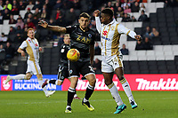 James Pearson of Macclesfield Town and Kieran Agard of MK Dons during MK Dons vs Macclesfield Town, Sky Bet EFL League 2 Football at stadium:mk on 17th November 2018