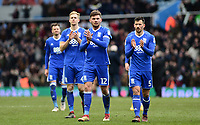 Harlee Dean, Maxime Colin and Marc Roberts of Birmingham clap off their fans after their defeat during the Sky Bet Championship match between Aston Villa and Birmingham City at Villa Park, Birmingham, England on 11 February 2018. Photo by Bradley Collyer/PRiME Media Images.