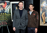 "NEW YORK - DECEMBER 5: L-R: Actor Hugh Jackman and climber Alex Honnold  attend a screening of National Geographic Documentary Films ""Free Solo"" at the Walter Reade Theater on December 5, 2018 in New York City. (Photo by Stephen Smith/National Geographic/PictureGroup)"