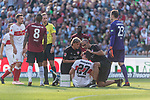 06.10.2018, HDI Arena, Hannover, GER, 1.FBL, Hannover 96 vs VfB Stuttgart<br /> <br /> DFL REGULATIONS PROHIBIT ANY USE OF PHOTOGRAPHS AS IMAGE SEQUENCES AND/OR QUASI-VIDEO.<br /> <br /> im Bild / picture shows<br /> Mario Gomez (VfB Stuttgart #27) wird am Platz behandelt, <br /> <br /> Foto &copy; nordphoto / Ewert