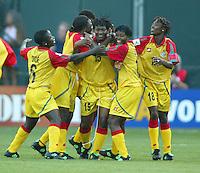 Alberta Sackey, celebrates after scoring a goal with her team,  Ghana vs. Australia, 2003 WWC.