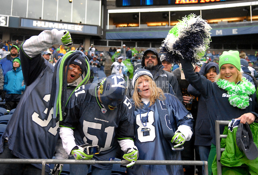 Jan. 5, 2008; Seattle, WA, USA; Seattle Seahawks fans cheer prior to the game against the Washington Redskins during the NFC wild card game at Qwest Field. Mandatory Credit: Mark J. Rebilas-US PRESSWIRE