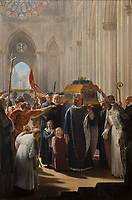 Philippe III the Bold brings the relics of Saint-Louis, his father, to Saint-Denis on 22nd May 1271, painting by Pierre-Narcisse Guerin, 1774-1833, in the sacristy of the Basilique Saint-Denis, Paris, France. The basilica is a large medieval 12th century Gothic abbey church and burial site of French kings from 10th - 18th centuries. Picture by Manuel Cohen