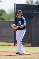 San Diego Padres first baseman Brad Zunica (25) during an Instructional League game against the Milwaukee Brewers on September 27, 2017 at Peoria Sports Complex in Peoria, Arizona. (Zachary Lucy/Four Seam Images)