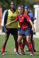MAR 10, 2006: Albufeira, Portugal:  USWNT midfielder Carli Lloyd plays defense during practice for  the Algarve Cup in Albufeira, Portugal.