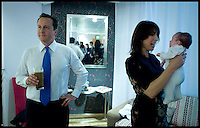 The Prime Minister David Cameron in the Green room with his wife Samantha and his baby daughter Florence, after delivering his speech to the Conservative Party Conference in Birmingham, Wednesday October 6,  2010. Photo By Andrew Parsons