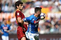 Federico Fazio of AS Roma and Arkadiusz Milik of Napoli compete for the ball <br /> Roma 31-3-2019 Stadio Olimpico Football Serie A 2018/2019 AS Roma - Napoli <br /> Foto Andrea Staccioli / Insidefoto