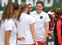 Portland, Oregon - Wednesday June 22, 2016: Portland Thorns FC forward Christine Sinclair (12) prior to a regular season National Women's Soccer League (NWSL) match at Providence Park.