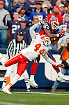13 November 2005: Buffalo Bills wide receiver Lee Evans (83) pulls in a touchdown pass during the second quarter of play as defending cornerback Eric Warfield (44) tries to break up the play for the Kansas City Chiefs at Ralph Wilson Stadium in Orchard Park, NY. The Bills defeated the Chiefs 14-3...Mandatory Photo Credit: Ed Wolfstein