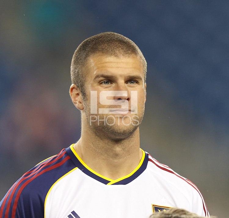 Real Salt Lake defender Chris Wingert (17). In a Major League Soccer (MLS) match, Real Salt Lake (white)defeated the New England Revolution (blue), 2-1, at Gillette Stadium on May 8, 2013.