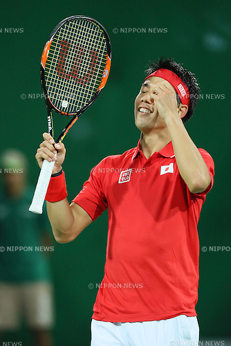 Kei Nishikori (JPN), <br /> AUGUST 12, 2016 - Tennis : <br /> Men's Singles Quarter-final <br /> at Olympic Tennis Centre <br /> during the Rio 2016 Olympic Games in Rio de Janeiro, Brazil. <br /> (Photo by YUTAKA/AFLO SPORT)