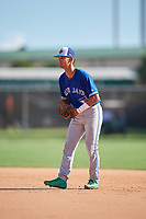 Matthew Lugo during the WWBA World Championship at the Roger Dean Complex on October 19, 2018 in Jupiter, Florida.  Matthew Lugo is a shortstop from Manati, Puerto Rico who attends Carlos Beltran Baseball Academy and is committed to Miami.  (Mike Janes/Four Seam Images)