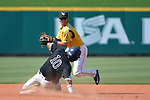 4 JUNE 2016: Ted Williams (1) of Millersville University gets the force out at second base during the Division II Men's Baseball Championship between Millersville University and Nova Southeastern University at the USA Baseball National Training Complex in Cary, NC.  Nova Southeastern University defeated Millersville University 8-6 to win the national title. Grant Halverson/NCAA Photos