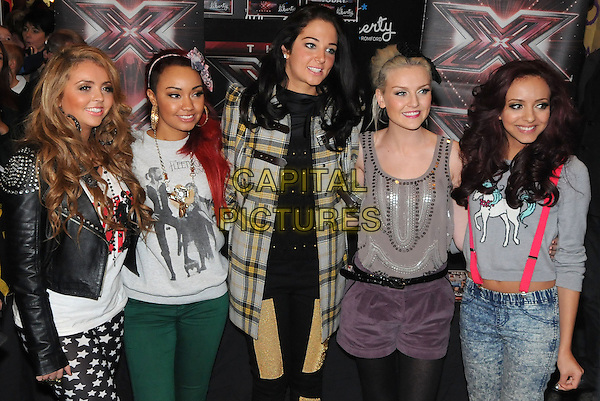 Tulisa Contostavlos (C) & Little Mix (Jesy Nelson, Leigh-Anne Pinnock, Perrie Edwards and Jade Thirlwall).Special signing at Liberty Shopping Centre ahead of this weekend's X Factor final at The Liberty, Romford, England..December 5th, 2011.half 3/4 length black white green yellow beige grey gray stars print red leather jacket top trousers coat jacket check shorts tights suspenders braces acid wash plaid tartan .CAP/BRC.©Ben Rector/Capital Pictures.