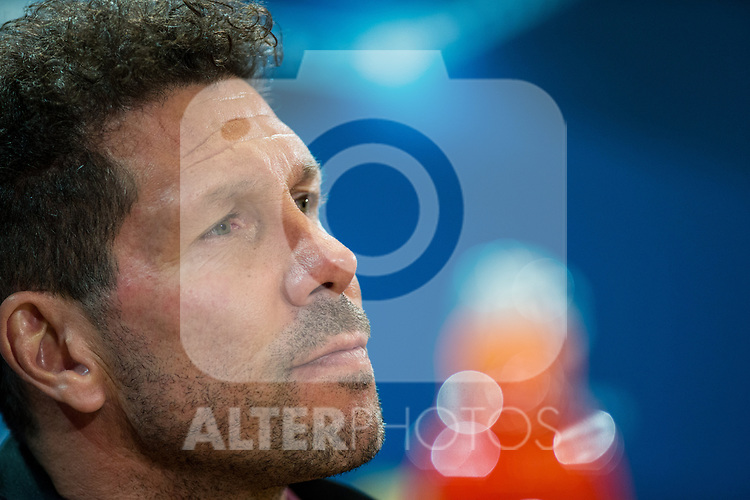 Diego Pablo Cholo Simeone during the press conference before the match of Uefa Champions League between Atletico de Madrid and Bayern Leverkusen at Vicente Calderon Stadium  in Madrid, Spain. March 14, 2017. (ALTERPHOTOS / Rodrigo Jimenez)