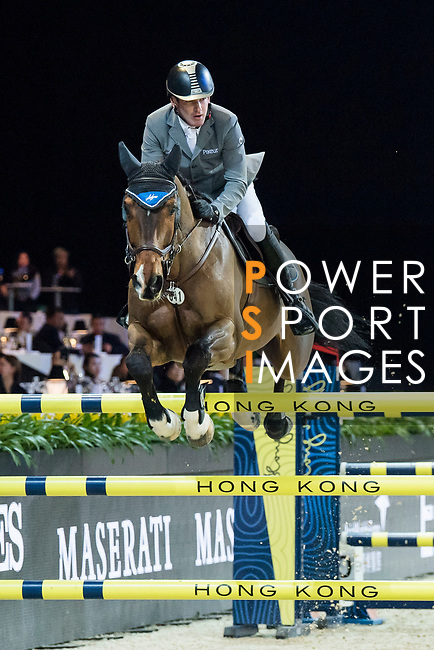 Philipp Weishaupt of Germany riding Chacon competes in the Hong Kong Jockey Club Trophy during the Longines Masters of Hong Kong at the Asia World Expo on 09 February 2018, in Hong Kong, Hong Kong. Photo by Diego Gonzalez / Power Sport Images