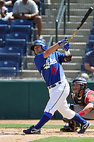 Travis Denker #8 of the Rancho Cucamonga Quakes bats against the Lake Elsinore Storm at The Epicenter in Rancho Cucamonga,California on April 17, 2011. Photo by Larry Goren/Four Seam Images
