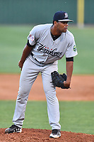 Pulaski Yankees pitcher Abel Duarte (30) looks in for signals during a game against the Elizabethton Twins at Joe O'Brien Field on June 27, 2016 in Elizabethton, Tennessee. The Yankees defeated the Twins 6-4. (Tony Farlow/Four Seam Images)