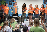Early in the morning, members of the O-Team get ready for the day in the Bengal Room, their base, during the second day of Orientation, Aug. 26, 2016. The team actively moves Orientation forward for Occidental College students with the class of 2020.<br /> (Photo by Marc Campos, Occidental College Photographer)