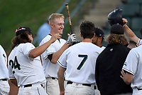 Catcher Charlie Carpenter (36) of the University of South Carolina Upstate Spartans is congratulated after hitting a home run in a game against the Kennesaw State Owls on Thursday, March 29, 2018, at Cleveland S. Harley Park in Spartanburg, South Carolina. (Tom Priddy/Four Seam Images)
