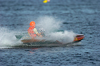 """Before his accident in the Jersey Speed Skiff, Bill Mehan drives his 145 hydro """"Tip Back""""."""