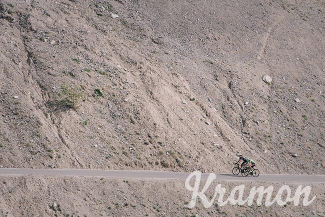 Simon Clarke (AUS/Cannondale-Drapac) & Damien Howson (AUS/ORICA-Scott) up the Col d'Izoard (HC/2360m/14.1km/7.3%)<br /> <br /> 104th Tour de France 2017<br /> Stage 18 - Briancon › Izoard (178km)