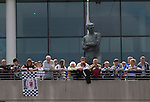 The statue of former England captain Bobby Moore looking down from the stadium on the day of the Npower Championship play-off final between Reading (blue) and Swansea City at Wembley Stadium. The match was won by Swansea by 4 goals to 2 watched by a crowd of 86,581. Swansea became the first Welsh team to reach the top division of English football since they themselves played there in 1983.