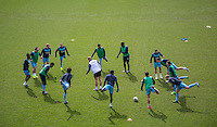 The Wycombe Players warm up during the Sky Bet League 2 match between Notts County and Wycombe Wanderers at Meadow Lane, Nottingham, England on 28 March 2016. Photo by Andy Rowland.