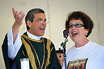 Father Chuck Durante and Jan Sullivan perform a Basque chant open the 13th annual  St. Teresa of Avila Basque Festival Sunday Sept. 19, 2010 at Fuji Park in Carson City, Nev..Photo by Lisa J. Tolda/Lisajphotos@gmail.com