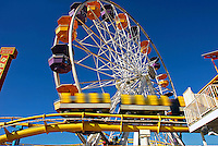 Santa Monica, CA, Ferris Wheel & Roller Coaster in motion, Roller Coaster, Los Angeles CA; Travel; Destination; View; Unique; Quality