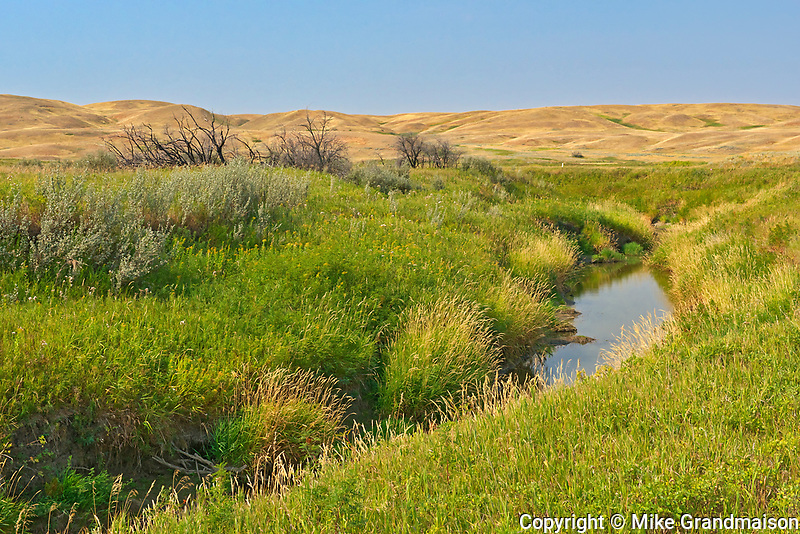 River and rolling hills and coulees of mixed-grass native prairie<br />
