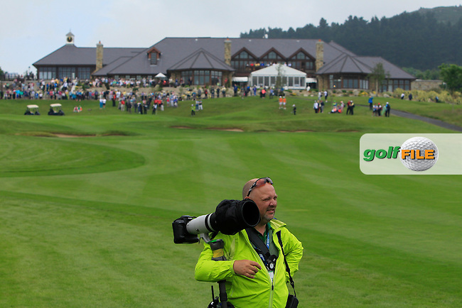 David Lloyd (Golffile) on the 18th fairway during the Saturday Mourning Fourbsomes of the 2016 Curtis Cup at Dun Laoghaire Golf Club on Saturday 11th June 2016.<br /> Picture:  Golffile | Thos Caffrey