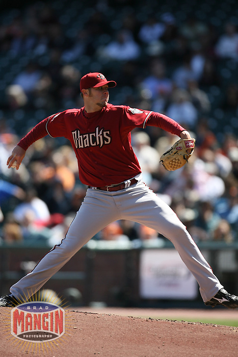 SAN FRANCISCO - APRIL 15:  Micah Owings of the Arizona Diamondbacks pitches during the game against the San Francisco Giants at AT&T Park in San Francisco, California on April 15, 2008.  (Photo by Brad Mangin)