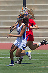 Torrance, CA 05/11/13 - Jackie Adelsberg (Agoura #12) and Grace Schmidt-Beck (Los Alamitos #19) during the 2013 Los Angeles/Orange County Championship game between Los Alamitos and Agoura.  Los Alamitos defeated Agoura 19-4.