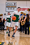 16 March 2019: University of Vermont Catamount Guard Ernie Duncan, a Redshirt Senior from Evansville, IN, leads his team out of the locker room prior to facing the UMBC Retrievers in the America East Championship Game at Patrick Gymnasium in Burlington, Vermont. The Catamounts defeated the Retrievers 66-49, avenging their loss against the same team in last years' Championship Game. Mandatory Credit: Ed Wolfstein Photo *** RAW (NEF) Image File Available ***