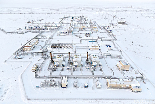 Overview of a Gazprom gas processing site built on permafrost in Novy Urengoi, sub-Arctic Russia.