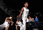 Nevada's Marqueze Coleman gets introduced before an NCAA college basketball game against Utah State in Reno, Nev., on Tuesday, Jan. 20, 2015. (AP Photo/Cathleen Allison)