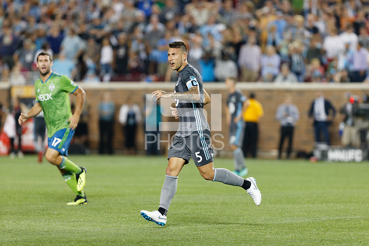 Minneapolis, MN - Saturday, August 4, 2018: Minnesota United FC played Seattle Sounders FC in a Major League Soccer (MLS) game at TCF Bank stadium. Final score Minnesota United 1, Sounders 2