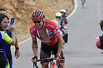 Race leader Nicolas Roche (IRL) Team Sunweb struggles on the final Cat 1 climb up to Observatorio Astrofisico de Javalambre during Stage 5 of La Vuelta 2019 running 170.7km from L'Eliana to Observatorio Astrofisico de Javalambre, Spain. 28th August 2019.<br /> Picture: Eoin Clarke | Cyclefile<br /> <br /> All photos usage must carry mandatory copyright credit (© Cyclefile | Eoin Clarke)