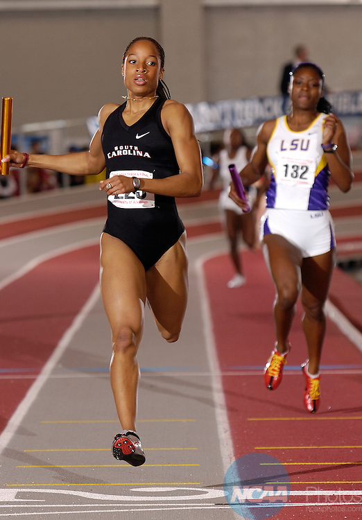 10 MAR 2007: Natasha Hastings of University  of South Carolina races the  4x400 meter relay during the Division I Indoor Track and Field Championships held at the Randal Tyson Track Complex on the University of Arkansas campus in Fayetteville, Ark. South Carolina won the relay with a 3:30.26  time. Phillip Walrod/NCAA Photos.