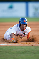 Gregory Valencia (47) of the Kingsport Mets slides into third base during the game against the Elizabethton Twins at Hunter Wright Stadium on July 9, 2015 in Kingsport, Tennessee.  The Twins defeated the Mets 9-7 in 11 innings. (Brian Westerholt/Four Seam Images)