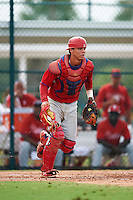 GCL Phillies catcher Nerluis Martinez (11) during a game against the GCL Pirates on August 6, 2016 at Pirate City in Bradenton, Florida.  GCL Phillies defeated the GCL Pirates 4-1.  (Mike Janes/Four Seam Images)