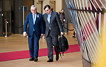 Brussels, Belgium -- March 22, 2018 -- European Council / Summit, meeting of Heads of State / Government at the Europa building - seat of the European Council and Council of the European Union; here, Jean-Claude Juncker (le), President of the European Commission, with the Chief Spokesperson of the EU-Commission, Margaritis Schinas (ri) -- Photo: © HorstWagner.eu